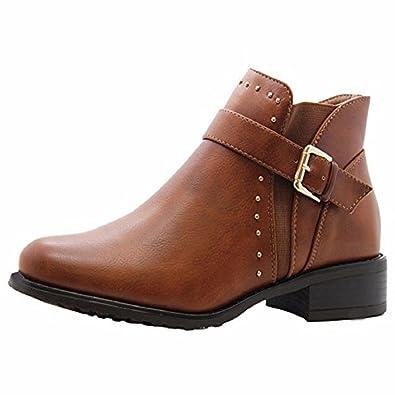 93a7d7a06544 Ladies Womens Low Block Heel Stud Buckle Strap Chelsea Biker Ankle Boots  Shoes Size (6 UK