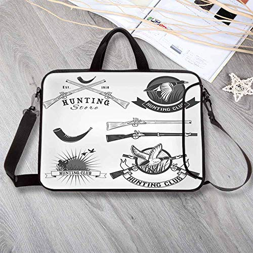 """Hunting Stylish Neoprene Laptop Bag,Hunting Store and Club Labels Duck Goose Mallard Shotgun Rifles Reed Bed Laptop Bag for Business Casual or School,13.8""""L x 10.2""""W x 0.8""""H"""