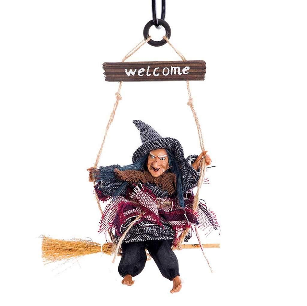 Halloween Party Bar Hanging Decoration Horror Hanging Flying Witch Pendant Halloween Haloween - Red by Matchia