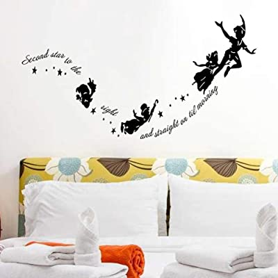 Wallpark Peter Pan Characters Wall Decals Quotes Inspirational Words Removable Wall Sticker, Children Kids Baby Home Room Nursery DIY Decorative Adhesive Art Wall Mural: Baby