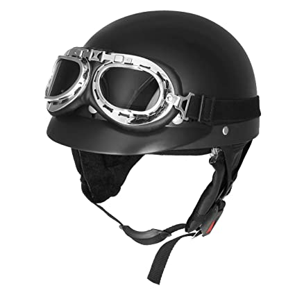 Wooya Matt Black Retro Motos Media Cara Casco Biker Scooter con Parasol UV Gafas Cafe Racer