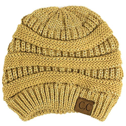 able Knit Stretchy Warm Ribbed Beanie Skully Ski Hat Cap Metallic Gold ()