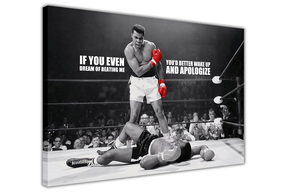 CANVAS PRINTS WALL ART PICTURES LEGENDS ICONIC MUHAMMAD ALI KNOCKOUT KO DREAM QUOTE PRINT PICTURE ROOM DECORATION HOME WALL NOSTALGIA BOXING CHAMPIONS Canvas It Up