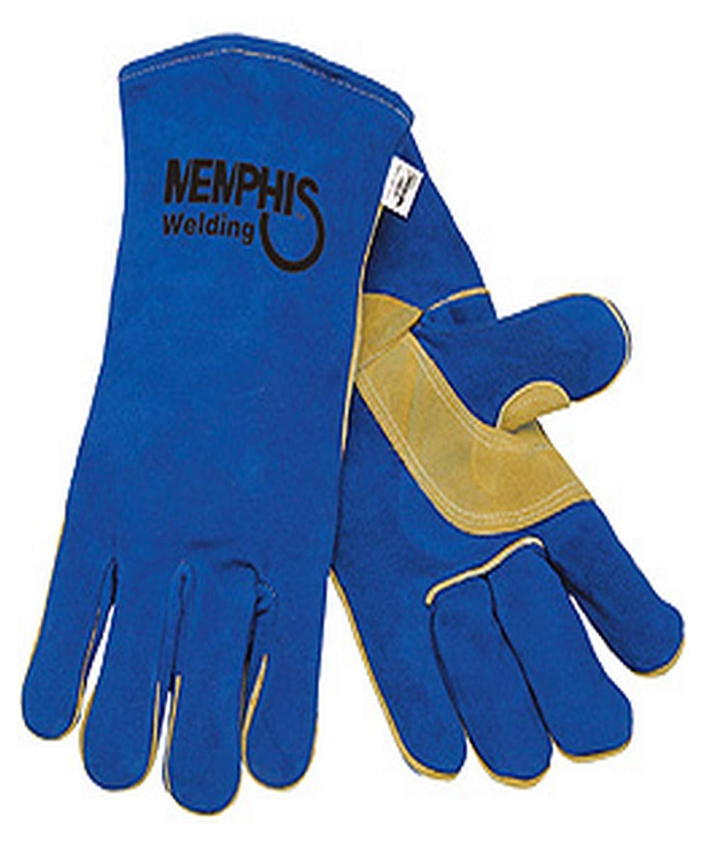 MCR Safety 4500 Memphis Glove Split Leather Welding Glove, Large, Blue (Pack of 12) by MCR Safety (Image #1)