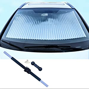 MagiqueW Car Retractable Sun Shade for Front Windshield - Protect Vehicle's Interior from Heat and Sunlight(65CM/25.6IN(Front))