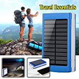 Eachbid Solar Charger Battery Portable 20000mAh Solar Battery Charger Rain-Resistant Shockproof, Dual USB output Solar Powered Phone Charger for iPhone, iPod, iPad, Samsung, HTC, GPS Camera Blue