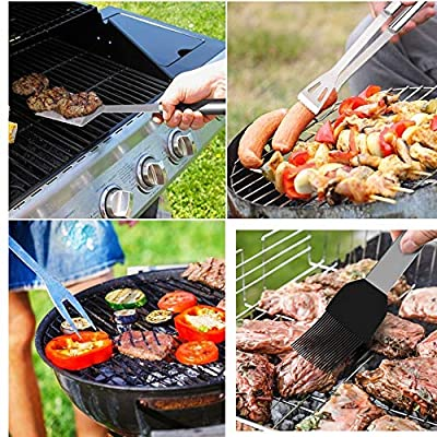 Barbecue Accessories BBQ Grill Tools With 10 PCS Grill Set Stainless Steel Utensils With A Grill Mat BBQ Tool Stainless Steel Spatula, Fork, Tongs, & Basting Brush In Carrying Case - GREAT GIFT