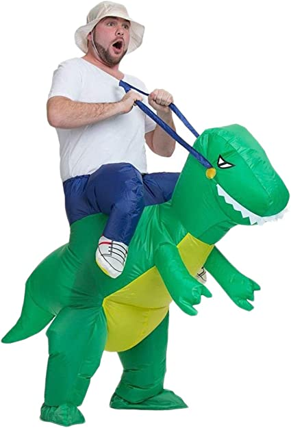 AOGU Inflatable Dinosaur Rider T-REX Costume Halloween Costume for Adults and Kids Inflatable Costumes Cosplay Party Dress Up