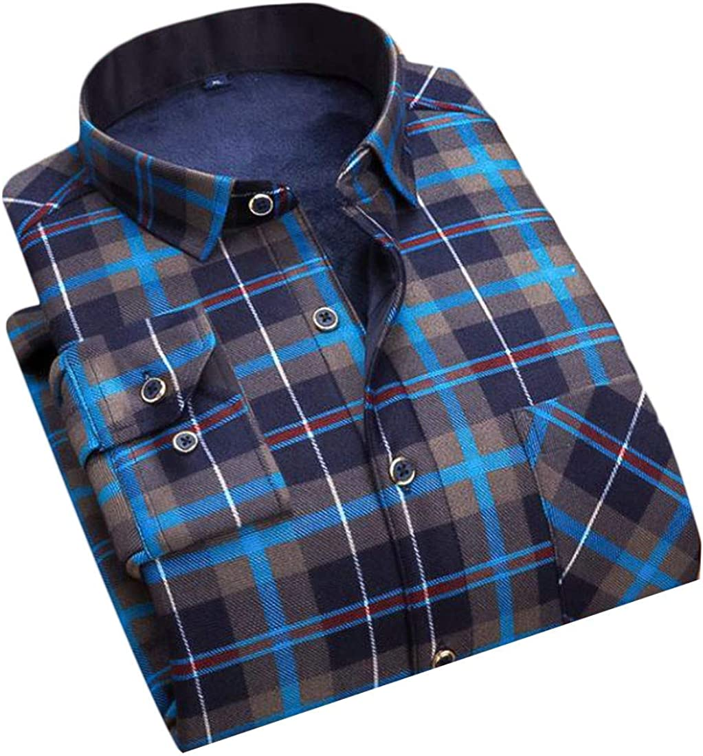 Pandapang Mens Fleece Thick Plaid Winter Long Sleeve Button Front Shirts