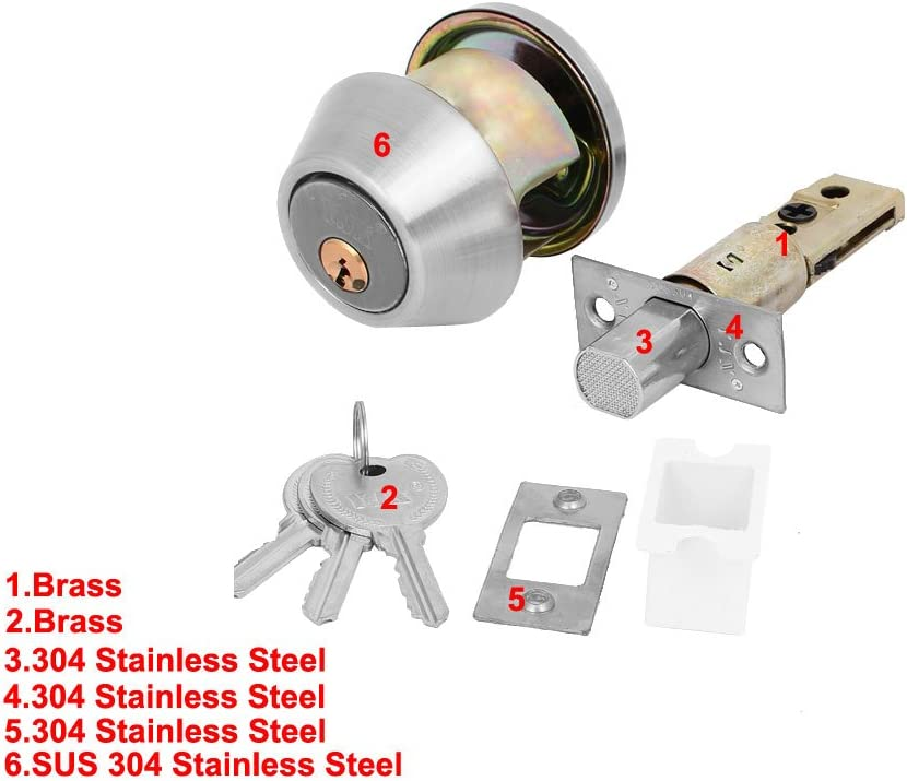 uxcell Home Bedroom Door Round Knob Single Cylinder Deadbolt Security Keyed Lockset