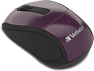 Verbatim Wireless Mini Travel Optical Mouse - Purple - 97473