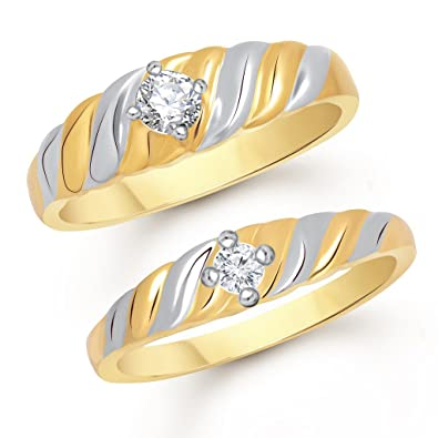 VShine Gold Plated Couple Ring for Men & Women made with SWAROVSKI