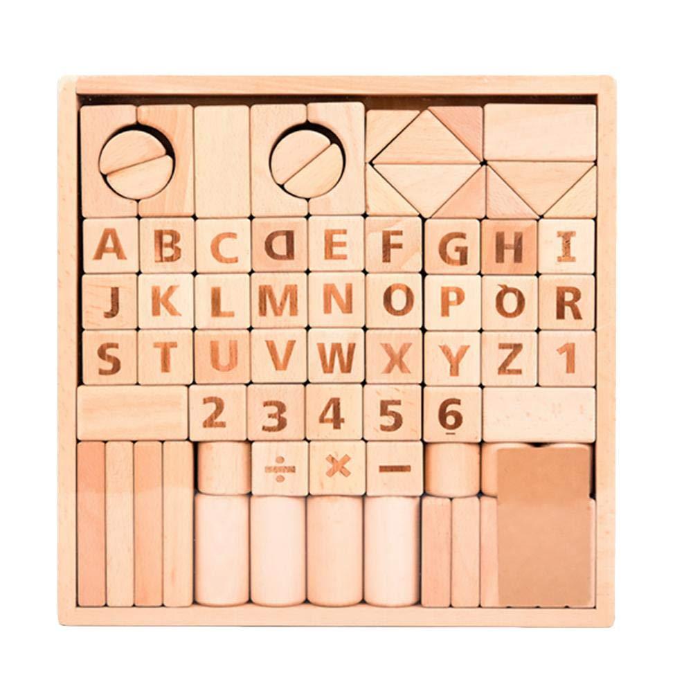 82 PCS Giocattoli educativi in legno Giocattoli educativi alfanumerici in legno