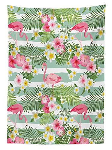 "Ambesonne Flamingo Tablecloth, Flamingos with Exotic Hawaiian Leaves Flowers on Striped Vintage Background, Rectangular Table Cover for Dining Room Kitchen Decor, 60"" X 90"", Green Pink - 60 INCHES WIDE x 90 INCHES LONG - Highly unique. Versatile. FUN. MACHINE WASHABLE - Cold cycle. Easy to clean. Durable enough for both indoor and outdoor use. MADE FROM - High quality 100% polyester woven silky satin fabric with hand-sewn finished edges - tablecloths, kitchen-dining-room-table-linens, kitchen-dining-room - 61SzuWT0dNL -"