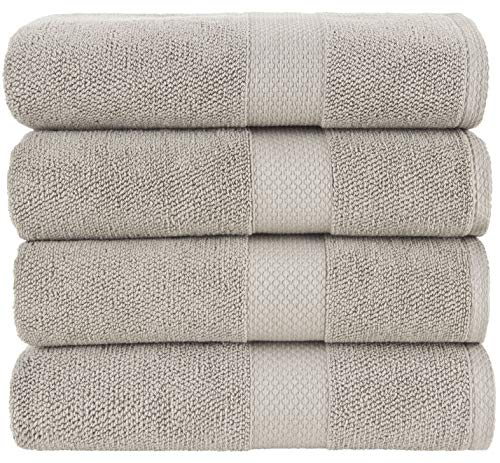 Bath Towels Taupe 4-Piece Set - 100% Cotton Luxury Quick Dry Turkish Towels for Bathroom, Guests, Hot Tub - Hotel Quality Collection Bath Towels, Soft and Ultra-Absorbent, 27x54 inch