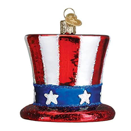 uncle sams hat glass blown hanging christmas ornament - Sams Christmas Decorations