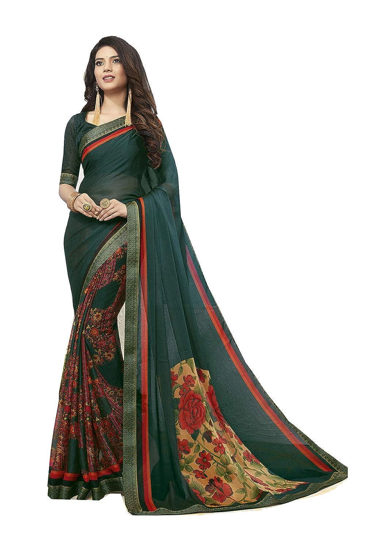 Dark Green 4 Indian Women Designer Party Wear Ethnic Traditional Saree.