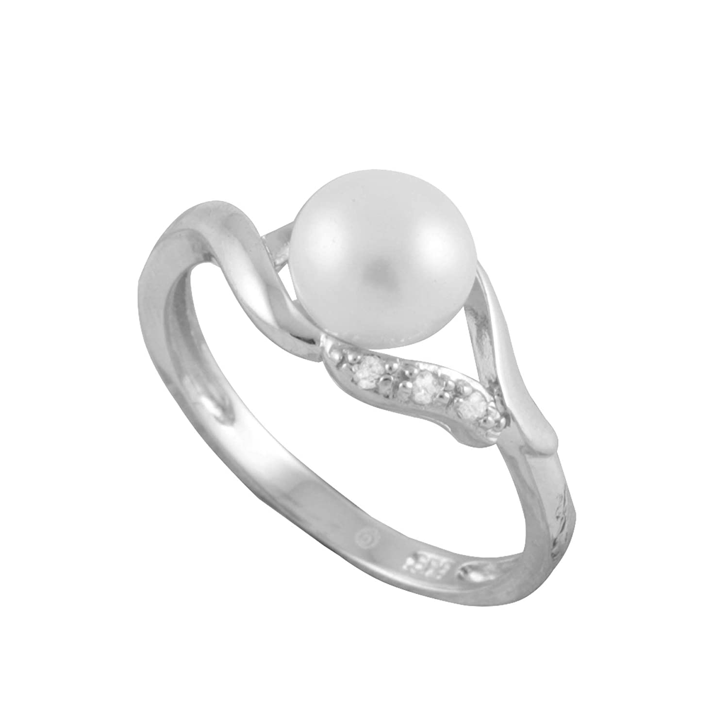 f7dfd748c Amazon.com: Handpicked AA Quality 7-7.5mm Button White Freshwater Cultured  Pearl Split-shank 925 Sterling Silver Ring: Jewelry