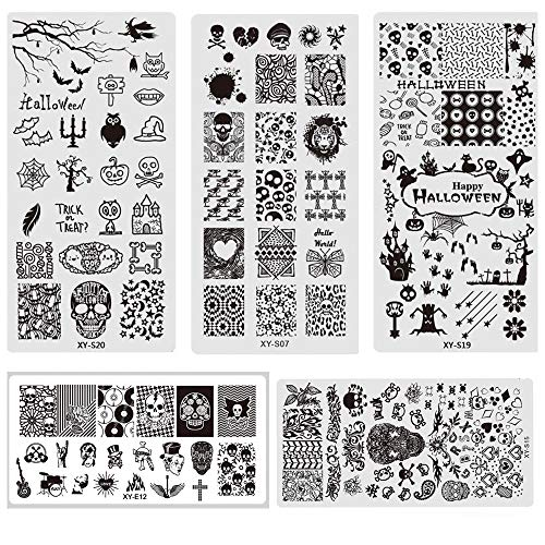 5Pcs Nail Art Stamp Template, 12x6cm Nail Stamping Plates Skull Bone Owl Spider Image Steel Template Halloween Manicure Stencil Tools -