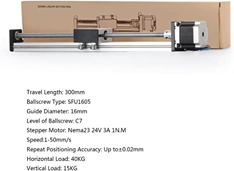 TopDirect SFU1605 lineal carril guía 300 mm movimiento lineal Rail CNC Linear Rail Eje Guía con motor paso a paso NEMA 23 apoyo: Amazon.es: Bricolaje y herramientas