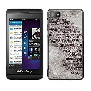 Qstar Arte & diseño plástico duro Fundas Cover Cubre Hard Case Cover para Blackberry Z10 ( Love Heartbrake God Peace Passion Quote)