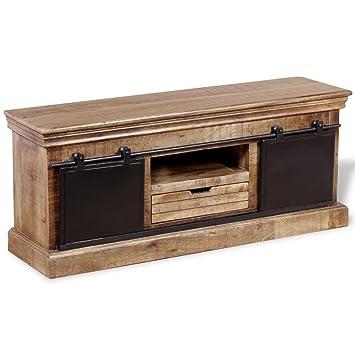 vidaxl meuble tv avec 2 portes coulissantes salon bois de manguier massif