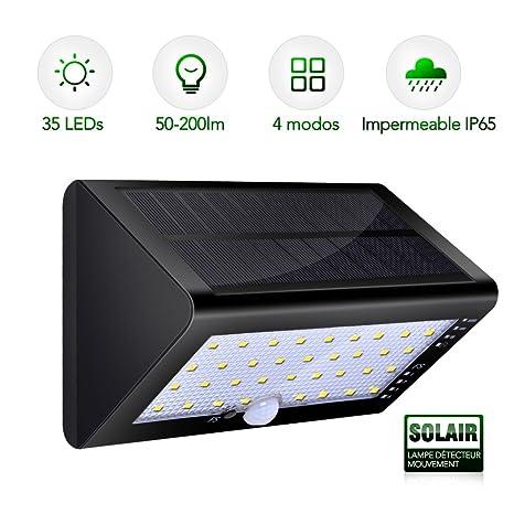 Luz Solar Para Exterior Sensor de Movimiento - CroLED Súper Brillante Focos Solares 4 Modos Impermeable