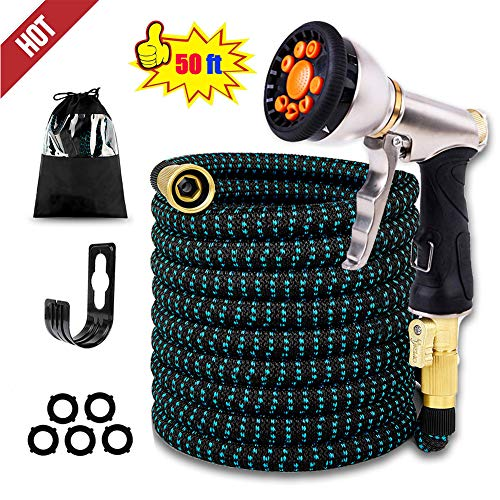 INSLING Expandable Garden Hose 50ft Flexible Water Hose with 4 Layered Latex Core 3/4