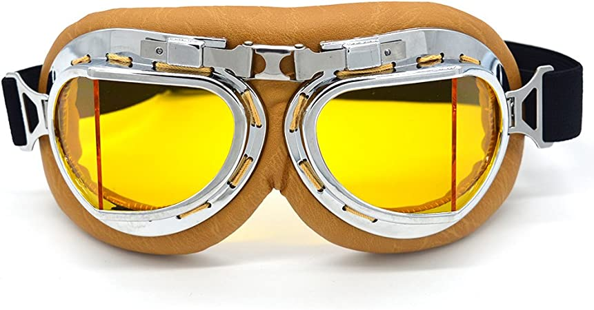 Summshine Vintage Aviator Pilot Chopper Motorrad Motorradbrille Schutzbrille Biker Cruiser Pilot Fliegerbrille Motocross Cruisers Half Face Helm Brille Auto
