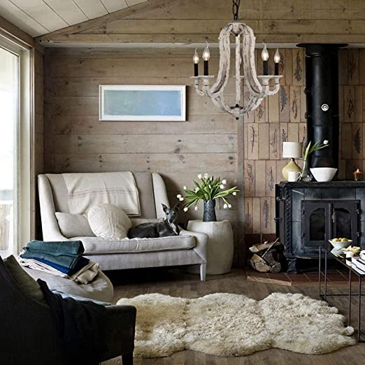 Amazon.com: Docheer - Lámpara de techo de madera con 5 ...