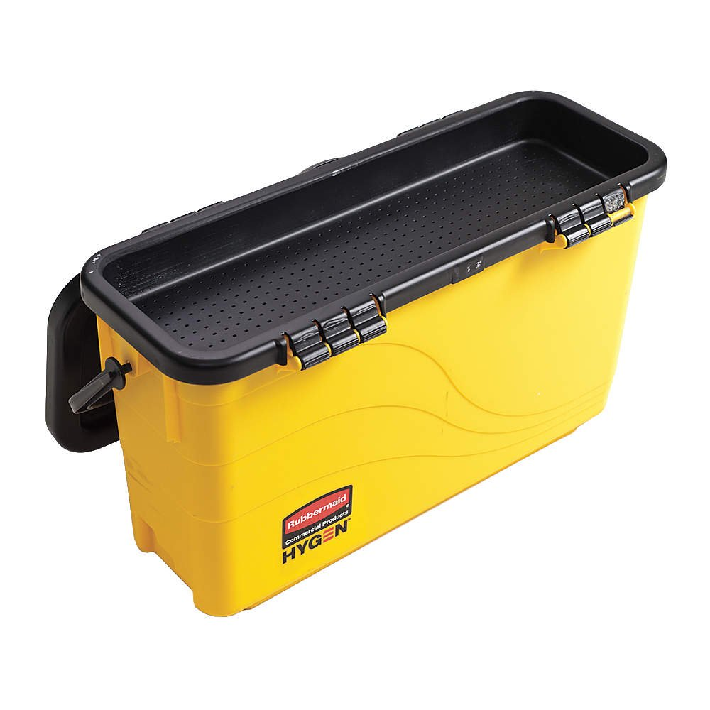 Yellow//Black Rubbermaid Commercial HYGEN Hygen Top Down Charging Bucket