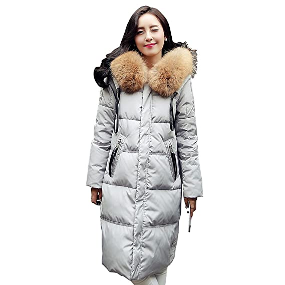 Damen Lang Daunenmantel Wintermantel Steppmantel Parka Warme