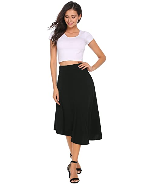 Zeagoo Women's Asymmetrical High Low Elastic Waist Skirt Black M