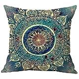 Pidada Throw Pillow Cases Retro Ethnic Mandala Paisley Boho Square Cotton & Linen Cushion Pillow Covers for Sofa Home Decor, 18 X 18 Inches (Blue)