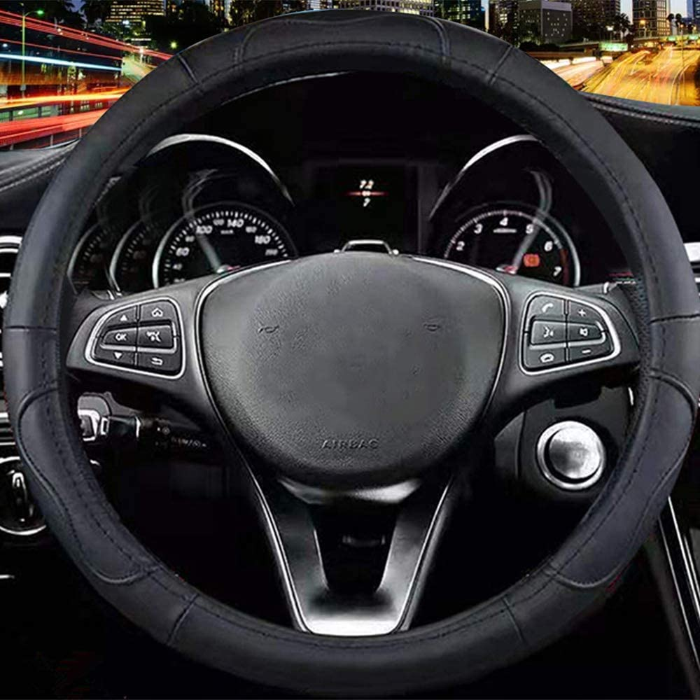 Universal 15 inch Microfiber Leather Auto Car Steering Wheel Cover Black