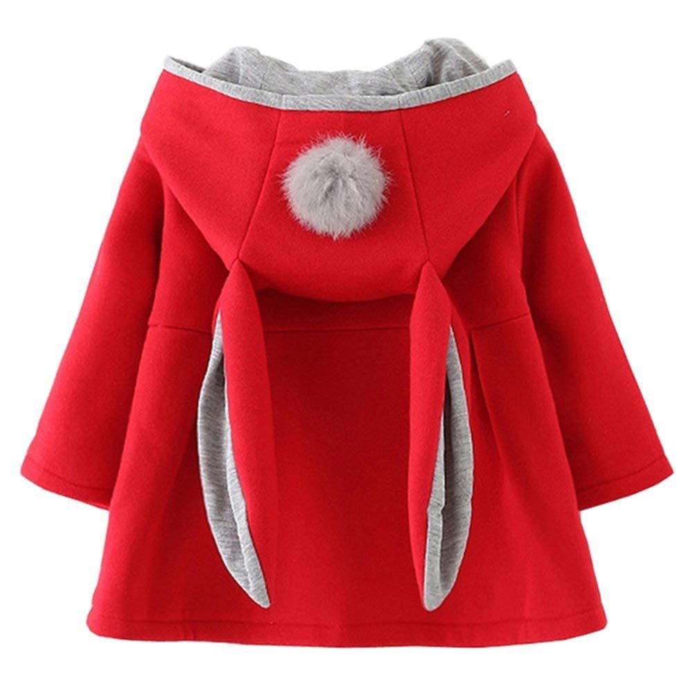 EDOTON Cappuccio Cappotto di Bambini Ragazze Fumetto Coniglio Orecchio Autunno Inverno Capispalla Giacca 9-36 Mesi