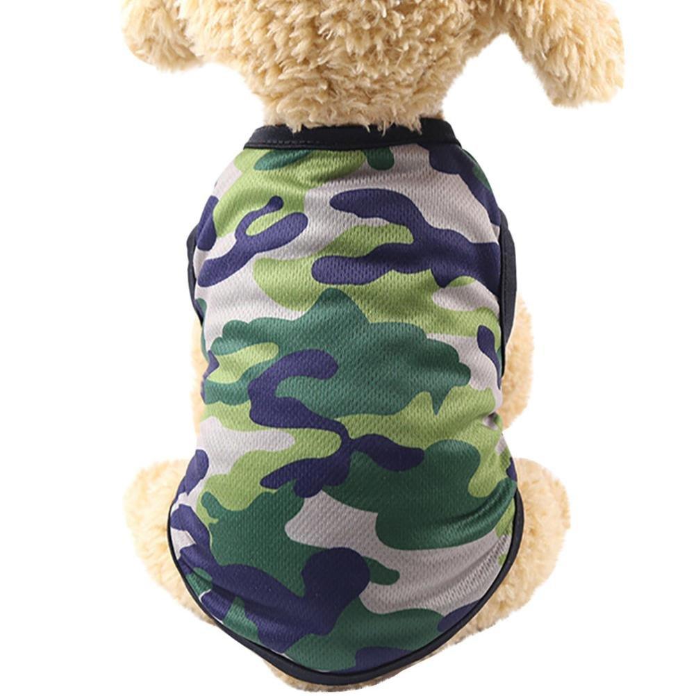 Woodland Camouflage Dog Clothes JOYFEEL Summer Cotton Vest Pet Clothing Sleeveless T-shirt Puppy Vest (S, Green)