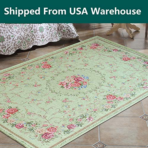 Jacquard Parlor Floral Green Area Rugs Carpet Floor Rug,Classical Traditional Vintage Green Doormats Area Rug,Country Cottage Rustic Shabby Chic Green Area Rug Carpet Floor Rug, 5'2