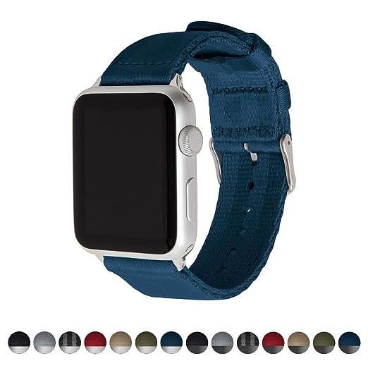Archer Watch Straps | Cinturón de Seguridad Correa de Reloj de Nailon para Apple Watch, Hombre y Mujer | Azul Marino/Acero Inoxidable, 42mm: Amazon.es: ...