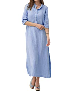 Yidarton Womens Chiffon Maxi Shirt Dress Roll up Sleeve