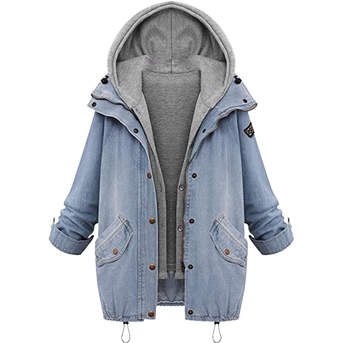 TianWlio Damen Mäntel Frauen Winter Frauen Warm Collar Kapuzenmantel Jacke Denim Trench Parka Outwear