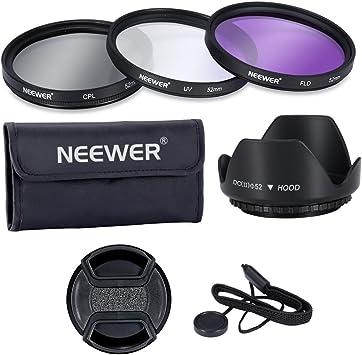 pa/ño de Limpieza la Bolsa Neewer Filtro de 55 mm de la Lente Kit de Accesorios para Canon Nikon Sony Samsung Fujifilm Pentax: UV//CPL//FLD Filtro Tapa del Objetivo la Capilla de Lente