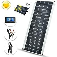 Panel solar portátil policristalino flexible de 20W-Kit de panel solar-Panel solar impermeable + Controlador de carga solar 25A con pantalla LCD