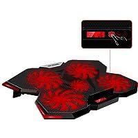 "Base de Refrigeración para Ordenador Portátil 12""-17'', Base Portatil Gaming con 5 Ventiladores Ultra Silenciosos con Iluminación LED Roja,con LCD Pantalla de Visualización y de Temperatura,Enfriamiento Rápido"