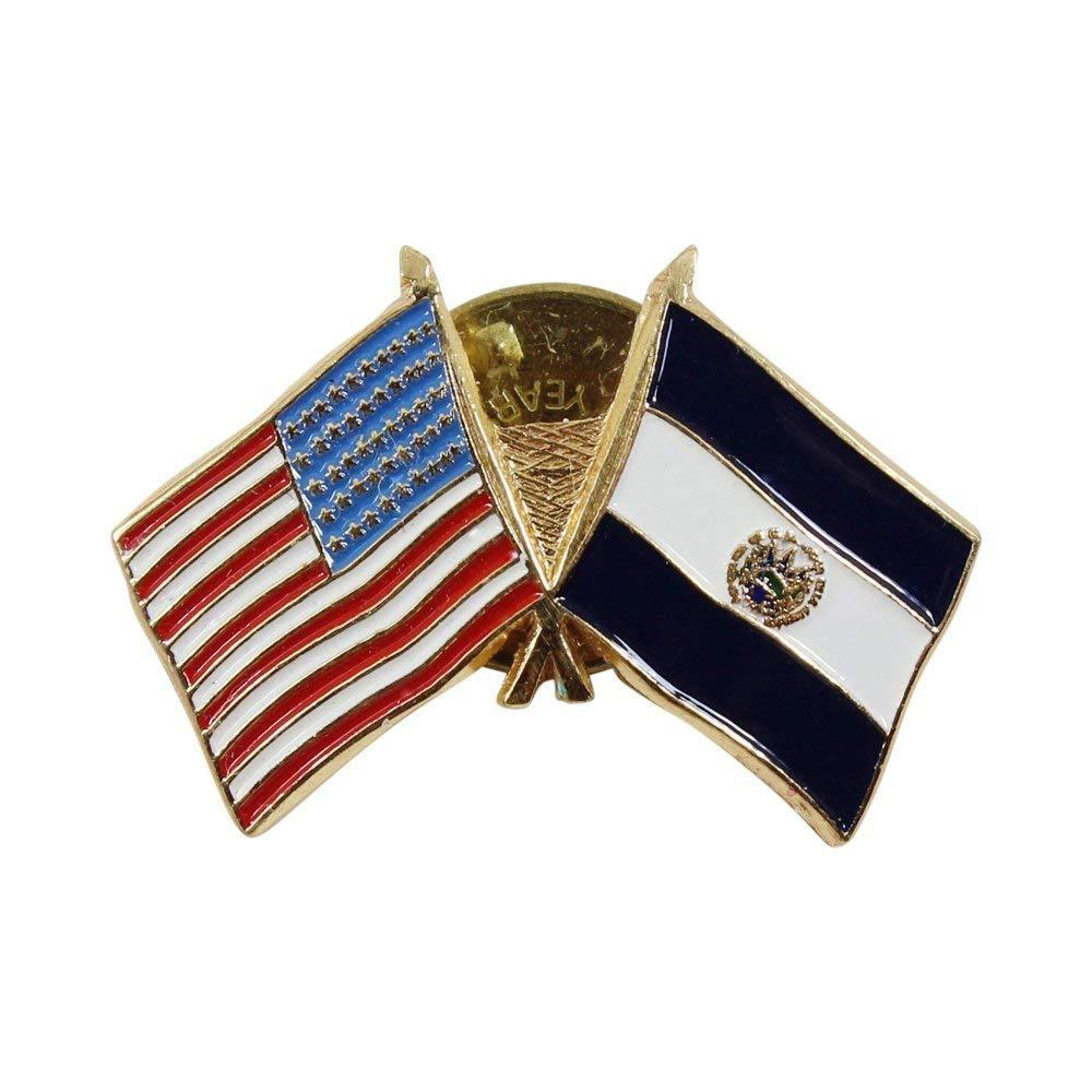 USA American Stars and Stripes Flag & El Salvador Patriotic Lapel Pin Gold Tone Metal