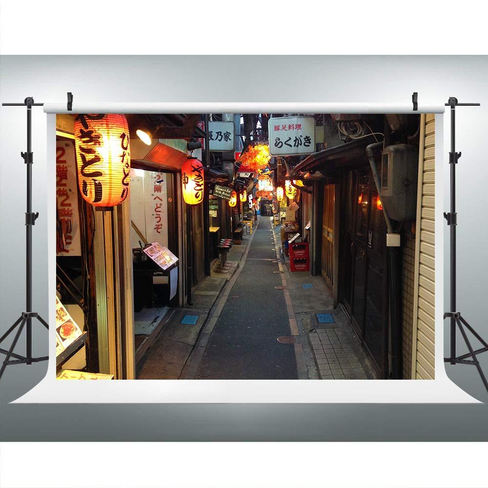 日本 ストリートビュー 写真撮影用背景 日本のランタン背景 フォトブース スタジオ小道具 LYLU071   B07NMMWG8S