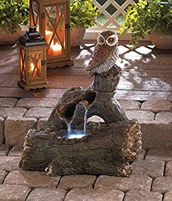 Garden Fountain Owl Statue Animal Sculptures Waterfall Relaxation Pump Ornament Feng Sui Indoor Outdoor Decorative