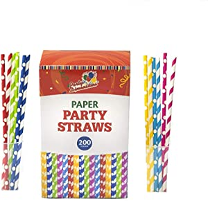 200 Pack Paper Straws, Drinking Straws for Smoothies, Juices, Cocktail, Birthday Parties And Weddings, 100% Biodegradable.