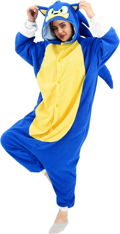 Amazon Com Vavalad Sonic Onesies Pajamas Adult Cosplay Animal Hedgehog Homewear Sleepwear Jumpsuit Costume Women Men Clothing