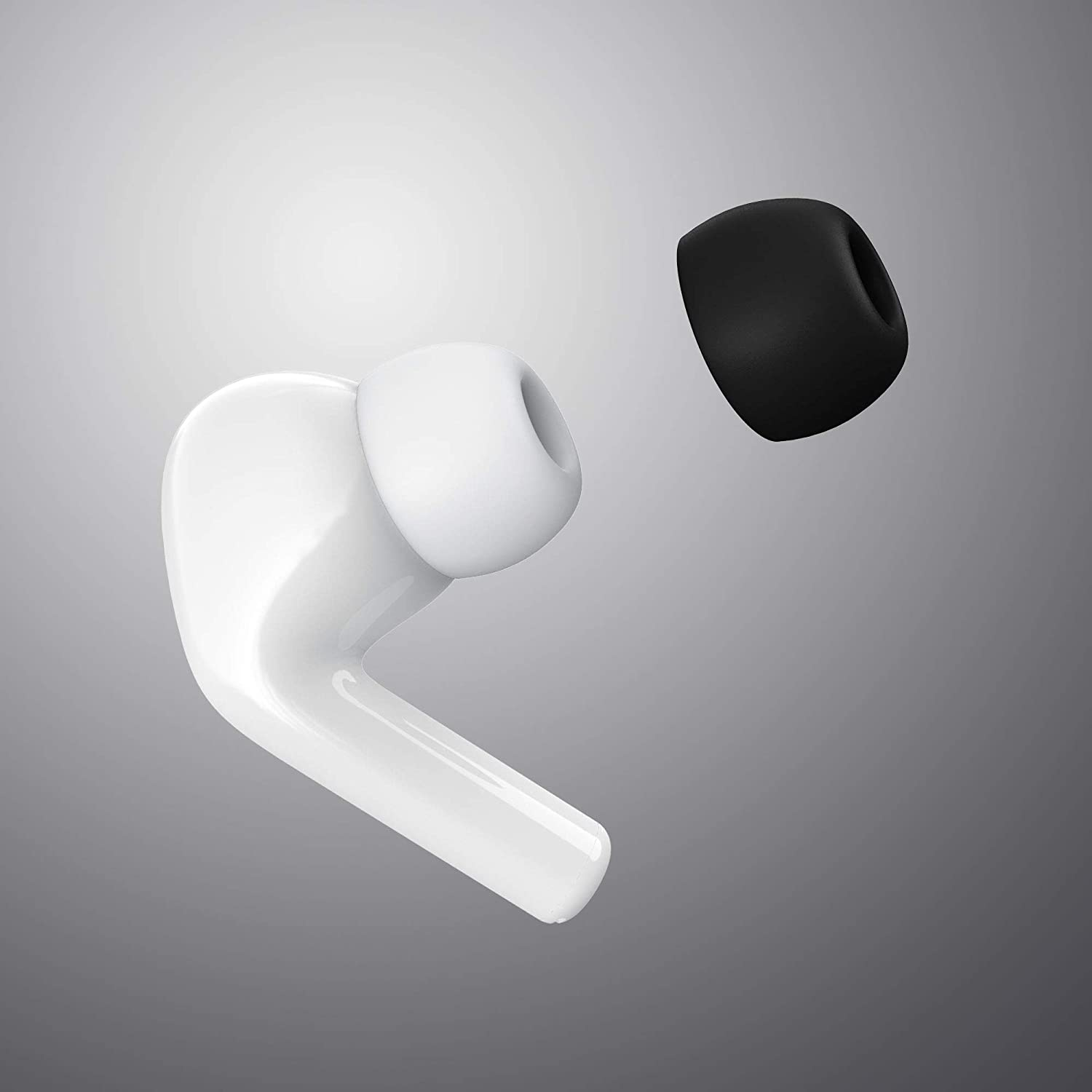 White//M Kisface Anti Slip Earbud Silicone Cover Case Earphone Tips Compatible with AirPods Pro 2019 Earplugs 2 Pairs